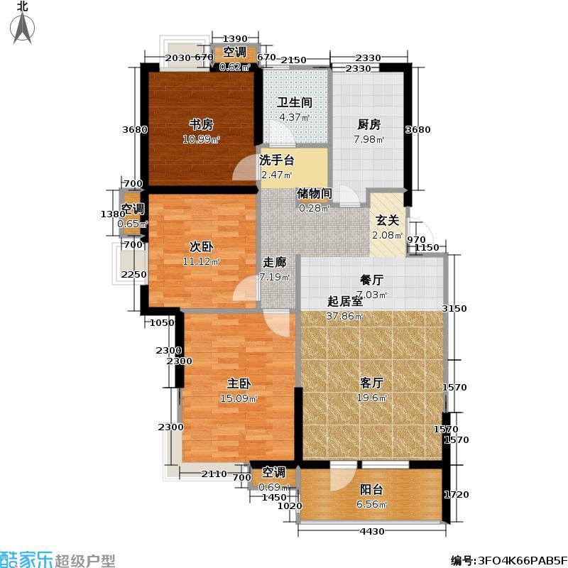 开泰锦城107.93㎡开泰锦城户型图B1户型(4/4张)户型3室2厅1卫