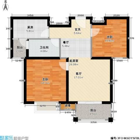 首开悦澜湾2室0厅1卫1厨78.00㎡户型图
