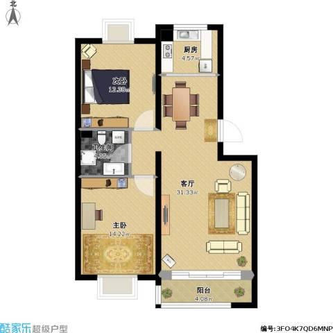 顶秀美泉小镇2室1厅1卫1厨101.00㎡户型图