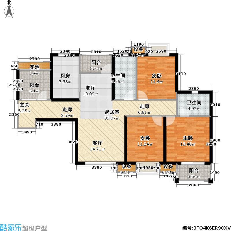 首开悦澜湾120.00㎡首开悦澜湾户型图高层B3户型三室两厅两卫(29/42张)户型3室2厅2卫