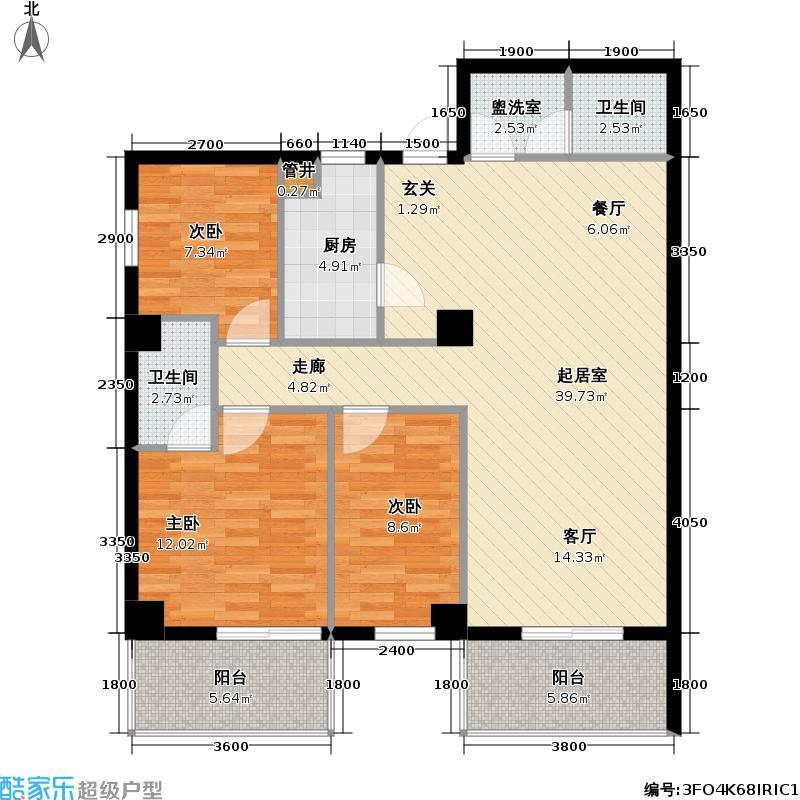 开来九洲国际117.25㎡开来九洲国际户型图三室二厅两卫(3/3张)户型10室