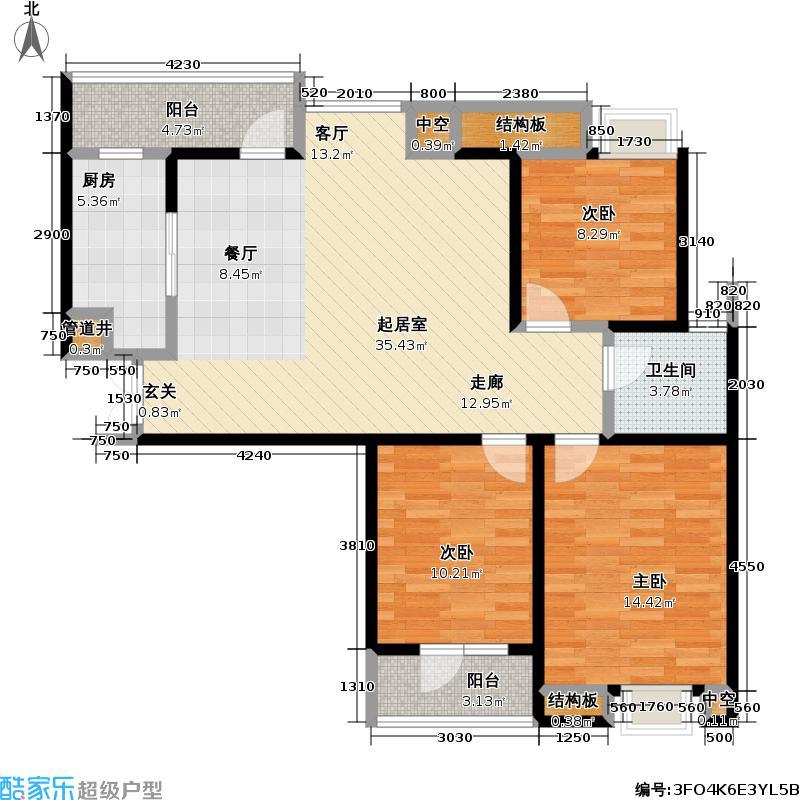 福星惠誉福星城F户型3室1卫1厨