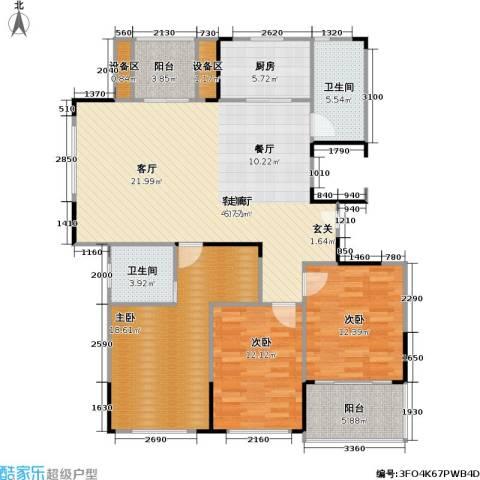 浙建枫华紫园3室1厅2卫1厨143.00㎡户型图