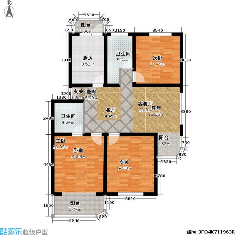 芳沁苑房型: 三房; 面积段: 108 -125 平方米; 户型