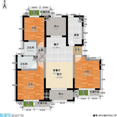 置地青湖语城3室1厅2卫1厨118.00㎡户型图