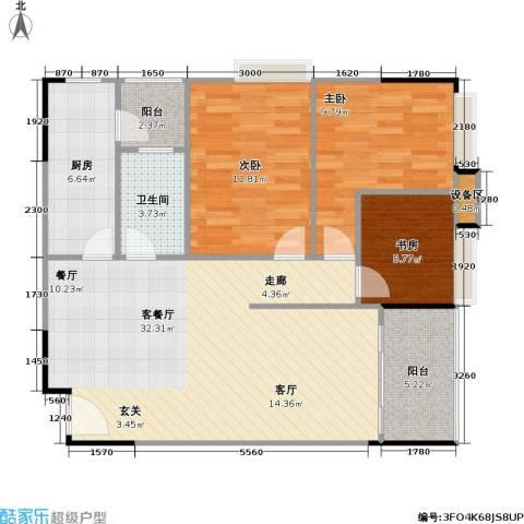 鸿福花园3室1厅1卫1厨93.00㎡户型图