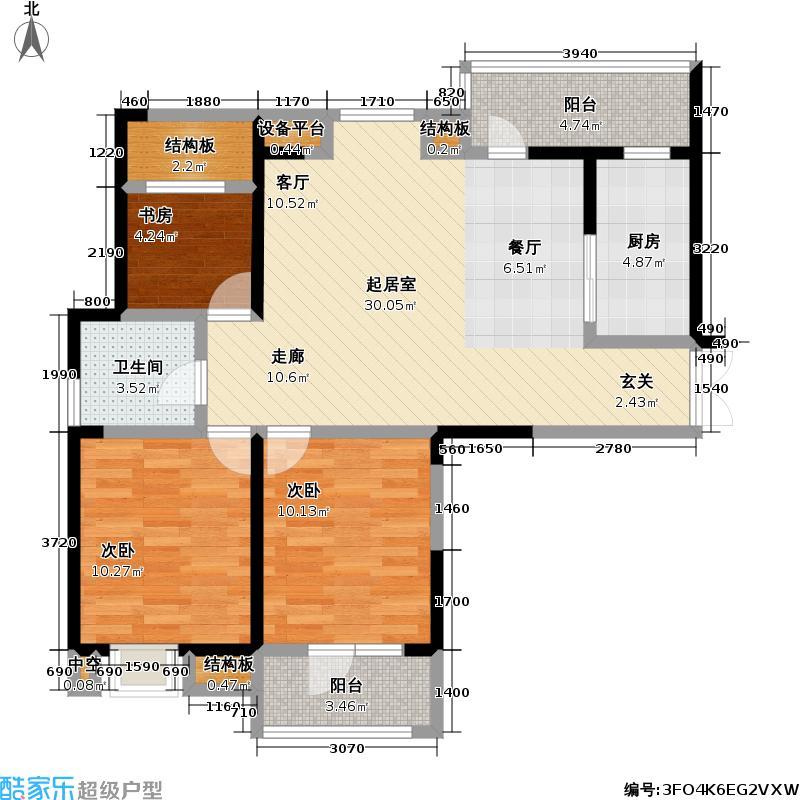 福星惠誉福星城97.00㎡福星惠誉福星城户型图E户型3室2厅1卫(4/12张)户型3室2厅1卫