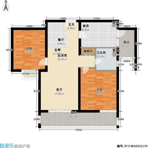 紫荆苑2室0厅1卫1厨102.00㎡户型图