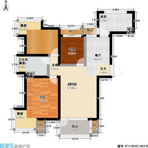亿城左岸香颂3室0厅1卫1厨89.00㎡户型图