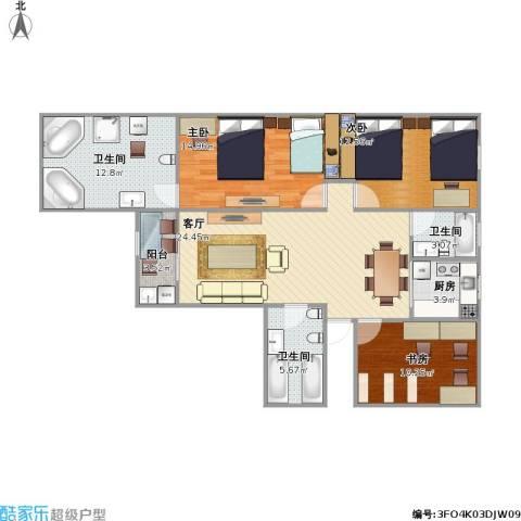 水秀新村3室1厅3卫1厨123.00㎡户型图