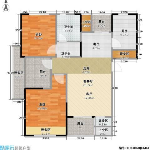 浙建枫华紫园2室1厅1卫1厨88.00㎡户型图