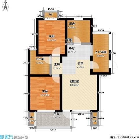 亿城左岸香颂2室0厅1卫1厨82.00㎡户型图
