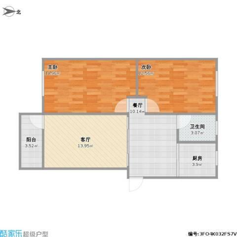 水秀新村2室2厅1卫1厨84.00㎡户型图