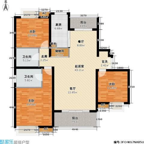 万源城御溪3室0厅2卫1厨134.00㎡户型图