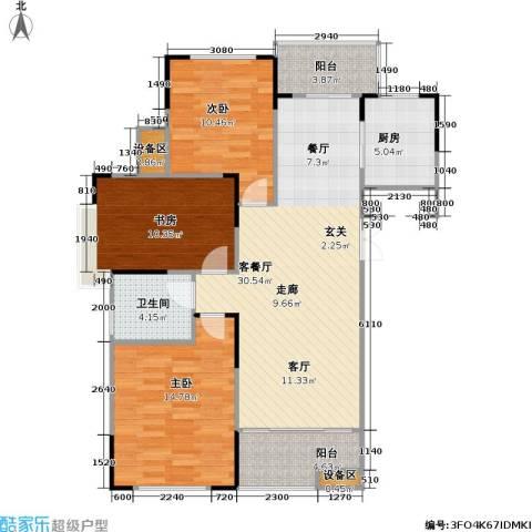 浙建枫华紫园3室1厅1卫1厨116.00㎡户型图