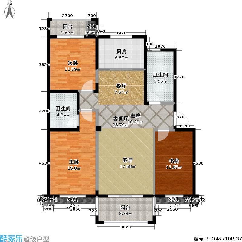 久乐苑115方三室两厅两卫户型