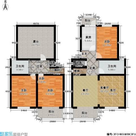 芳沁苑3室1厅2卫1厨170.00㎡户型图