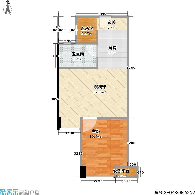 玉湖湾43.00㎡玉湖湾户型图E-1型4号楼改造前1房1厅1卫42-(2/2张)户型1室1厅1卫