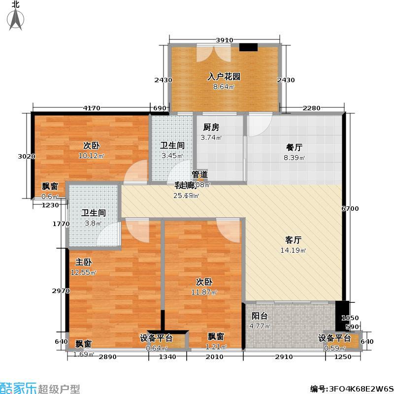玉湖湾B-2型2-3栋02-03单位改造后户型3室1厅2卫1厨