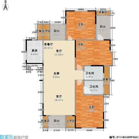 浙建枫华紫园3室1厅2卫1厨132.00㎡户型图