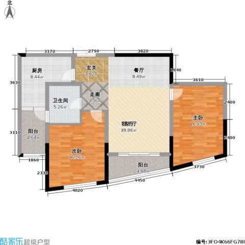 道生中心2室1厅1卫1厨102.00㎡户型图