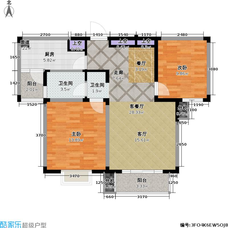 星胜客75.00㎡星胜客户型图二房二厅一卫-85平方米(1/9张)户型10室