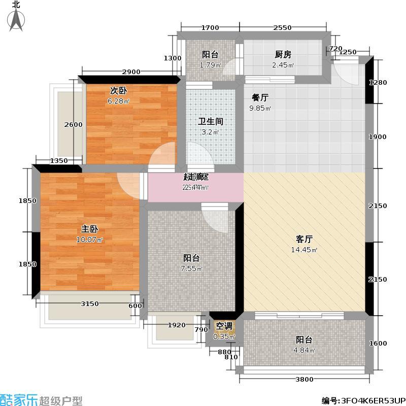 怡龙枫景园88.00㎡怡龙枫景园户型图3室2厅1卫(3/3张)户型10室