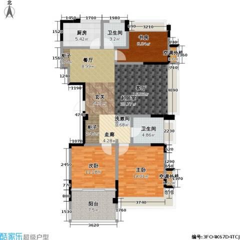 吟枫苑3室0厅2卫1厨134.00㎡户型图