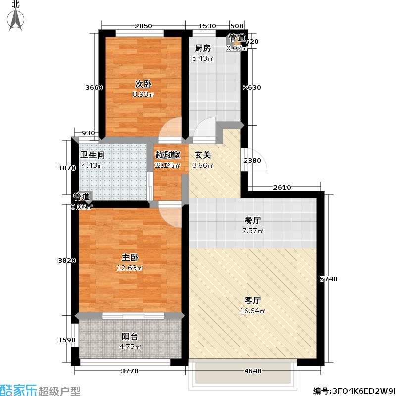 朗诗未来街区77.00㎡朗诗未来街区户型图1.2期B3户型(29/36张)户型2室2厅1卫