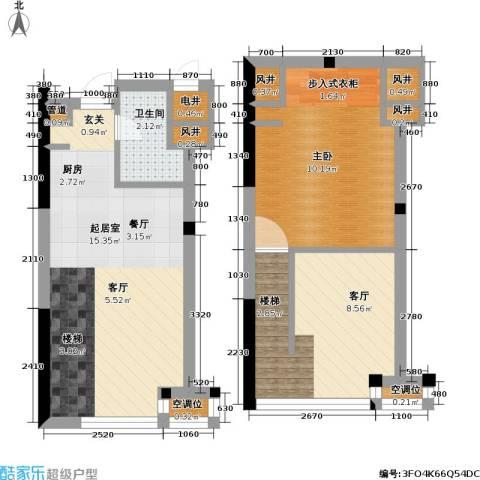 新城公馆1室1厅1卫0厨46.00㎡户型图