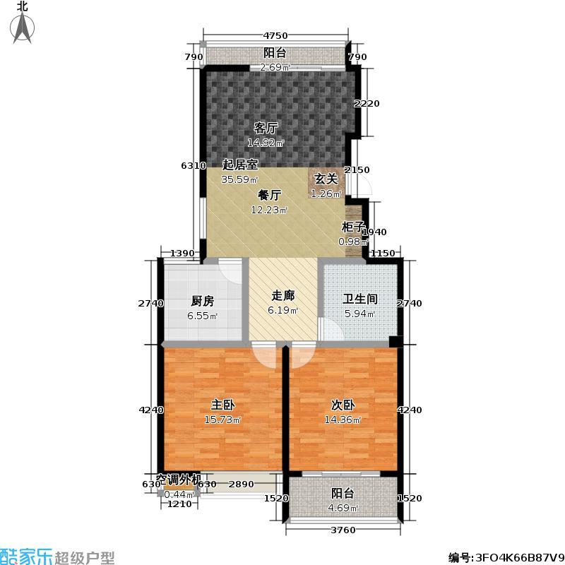 金田雅居10685户型2室1卫1厨