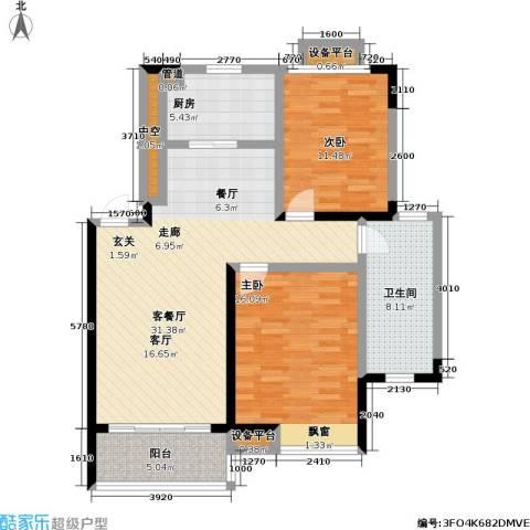 御源林城2室1厅1卫1厨91.00㎡户型图