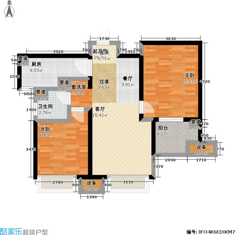 朗诗未来街区79.00㎡朗诗未来街区户型图1.2期B2户型(26/36张)户型2室2厅1卫