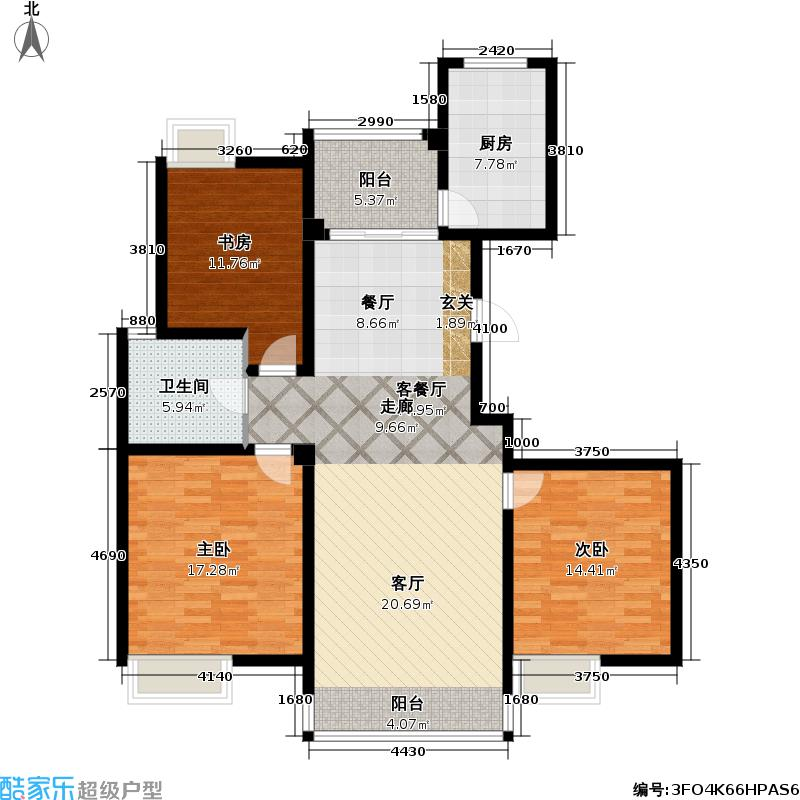 凤凰名城凤凰名城户型图三房二厅一卫:121.28平方米(24/35张)户型10室
