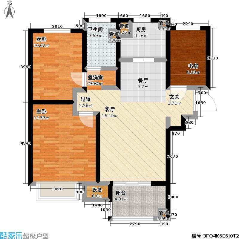 朗诗未来街区12期C2户型3室1卫1厨