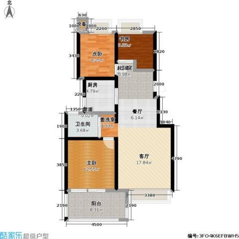 朗诗未来街区3室0厅1卫1厨88.00㎡户型图