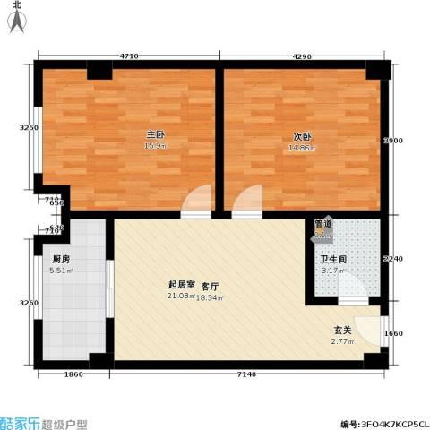 唯C商务广场2室0厅1卫1厨93.00㎡户型图