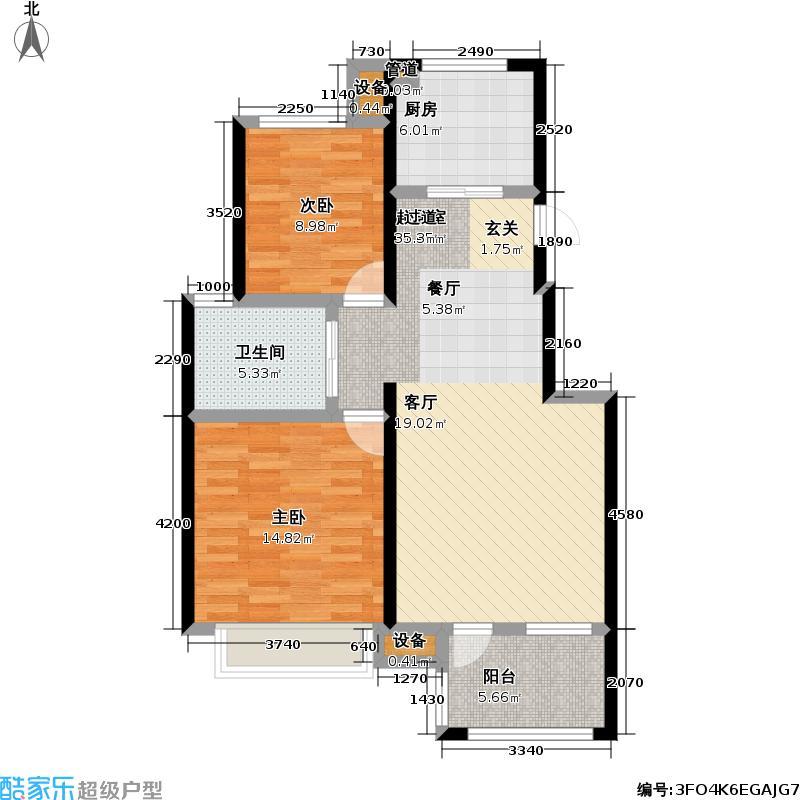 朗诗未来街区83.00㎡朗诗未来街区户型图3期B2户型(12/16张)户型2室2厅1卫