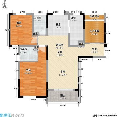 天安尚城2室0厅2卫1厨117.00㎡户型图