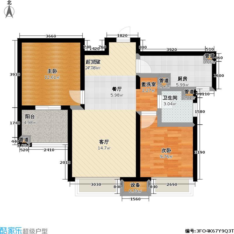 朗诗未来街区79.00㎡朗诗未来街区户型图1.2期B1户型(23/36张)户型2室2厅1卫