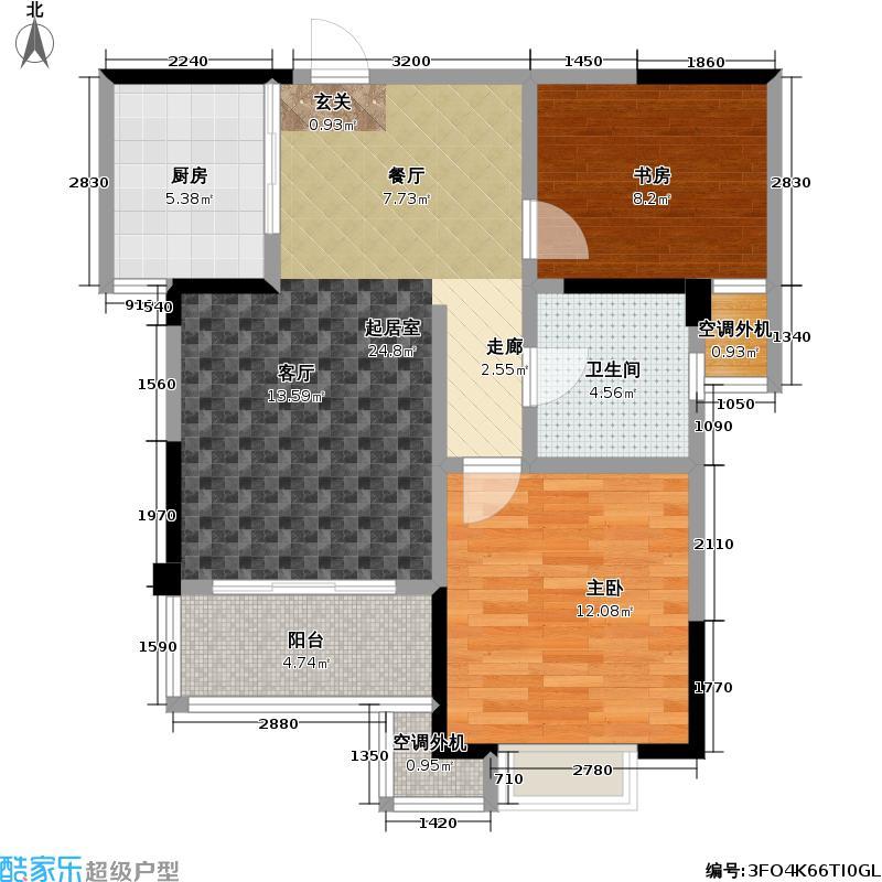 新城玉龙湾76.72㎡新城玉龙湾户型图二房二厅一卫:76.72平方米(15/17张)户型10室