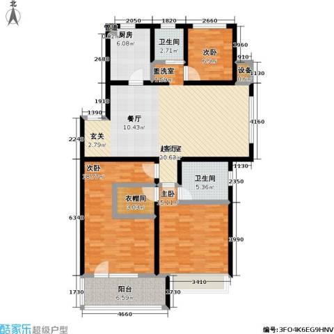 朗诗未来街区3室0厅2卫1厨116.00㎡户型图