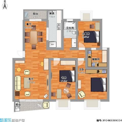 东方锦园3室1厅1卫1厨142.00㎡户型图