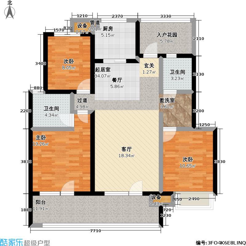 朗诗未来街区113.00㎡朗诗未来街区户型图3期D1户型(6/13张)户型3室2厅1卫