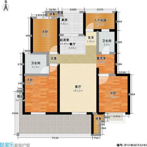 朗诗未来街区3室0厅2卫1厨114.00㎡户型图