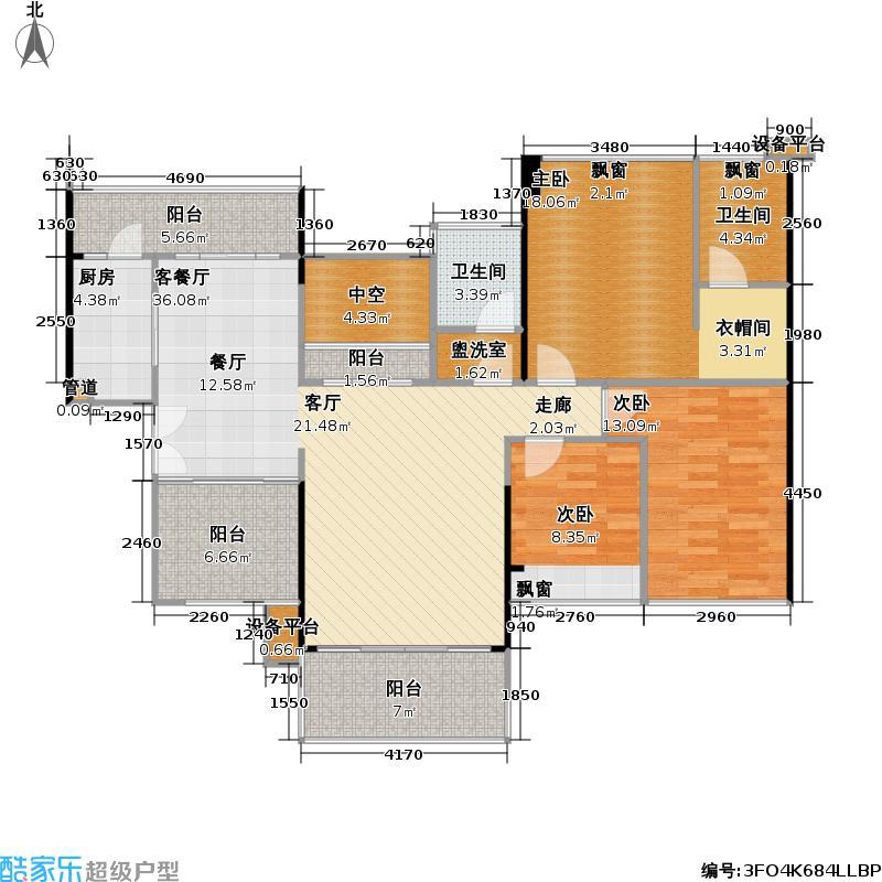 合正汇一城户型3室1厅2卫1厨