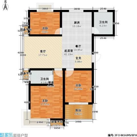香江壹品3室0厅2卫0厨100.34㎡户型图