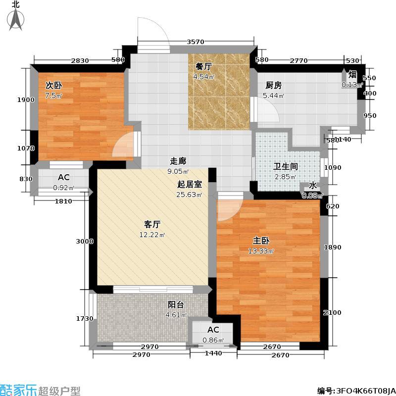 新城金郡80.20㎡新城金郡户型图1#、2#、3#C户型两房两厅一卫(5/5张)户型2室2厅1卫