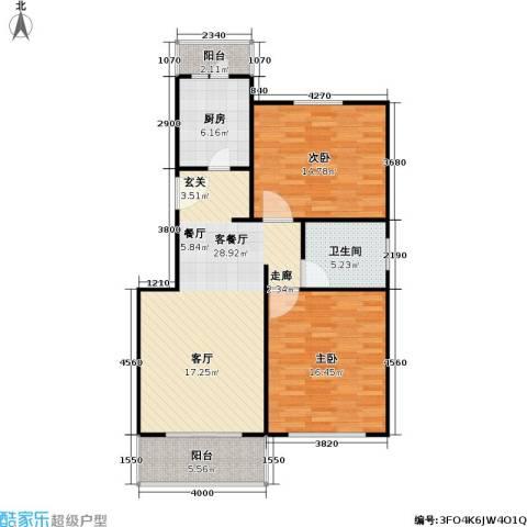 中星雪野家园2室1厅1卫1厨91.00㎡户型图