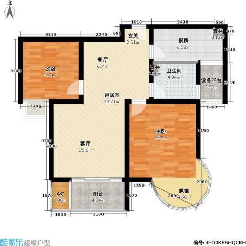 凯尔枫尚2室0厅1卫1厨88.00㎡户型图